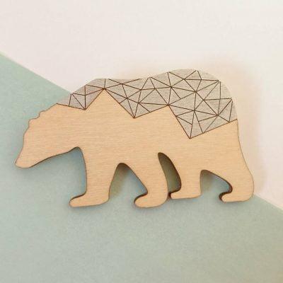 Polarbear Geometric Brooch by Twiggd