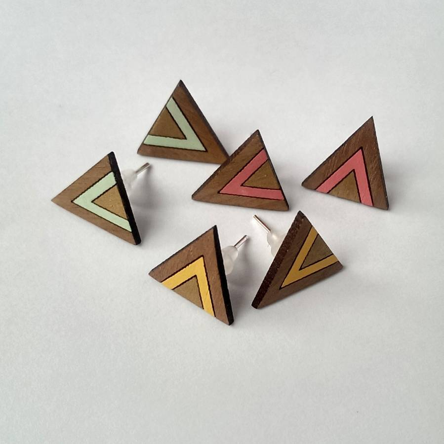 Hand Painted Wooden Triangle Earrings by Twiggd