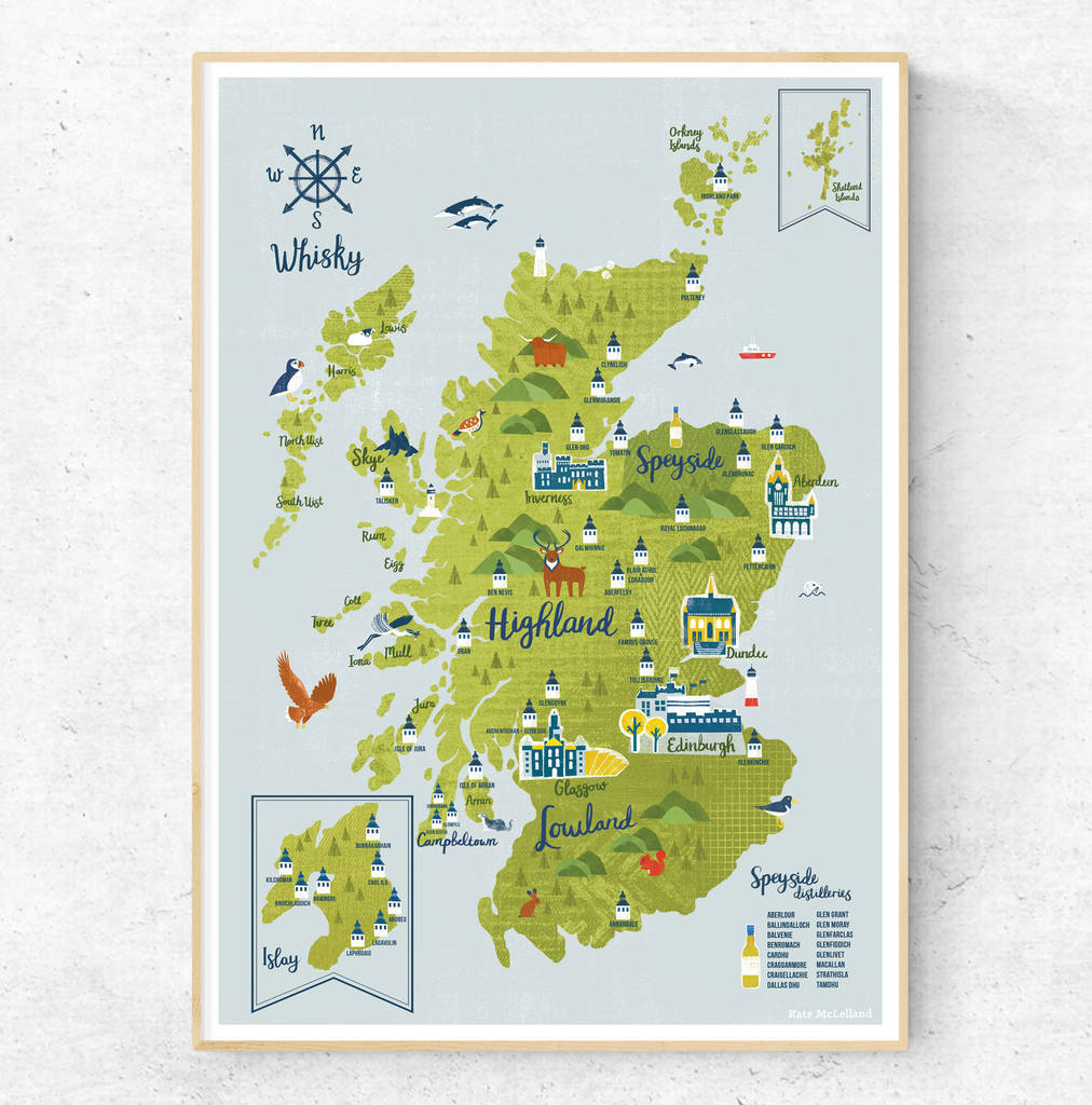 photograph relating to Printable Map of Scotland referred to as Whiskey Map Of Scotland A3 Print - Framed Prints (approx A3 Sizing), Giclée, Gocco Electronic Prints, Edinburgh and Scottish, Food items, Consume Dwelling, For