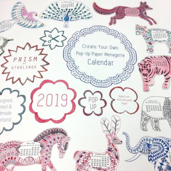 2019 Diy Pop Up Menagerie Desk Calendar What S New Jenny Gift