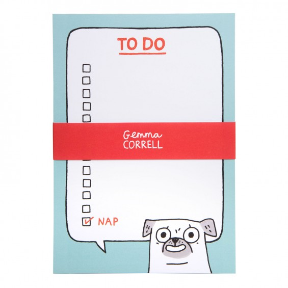 the pug to do list, great for keeping on top of your never ending to do list by Gemma Correll