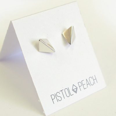 small silver shadow studs by pistol and peach