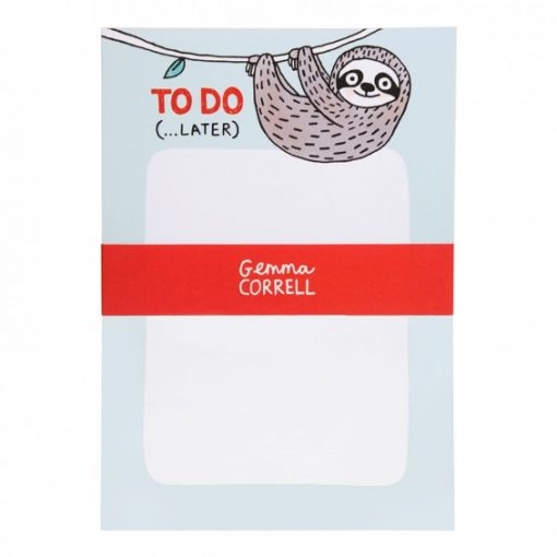 super sloth notepad, let him help you keep on top of your to do list. By Gemma Correll