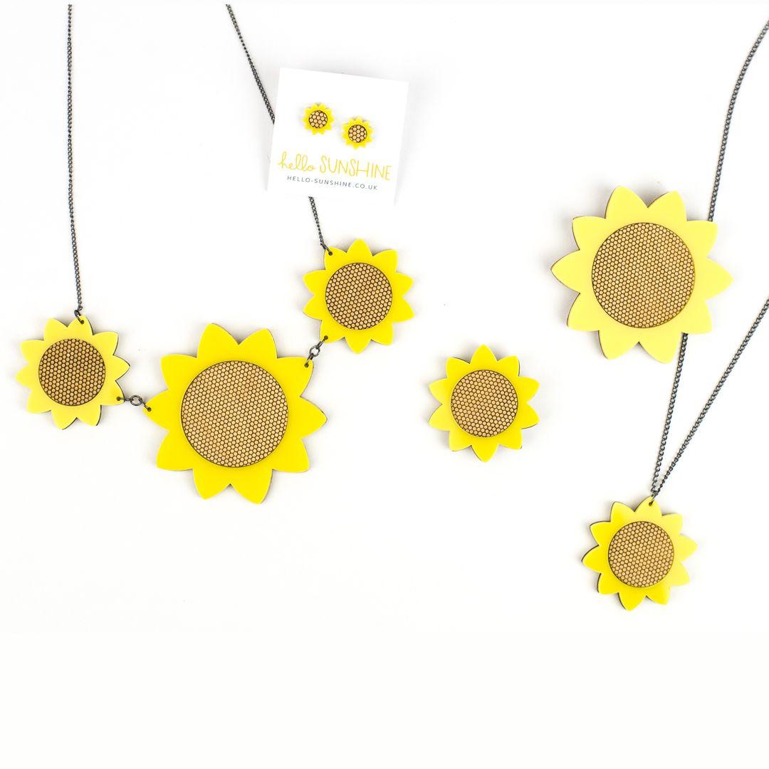 sunflowers, garden, sunflower necklace, bright yellow, big flower