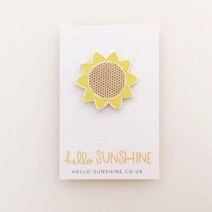 sunflower pin, enamel pin, flowers, yellow, hello sunshine