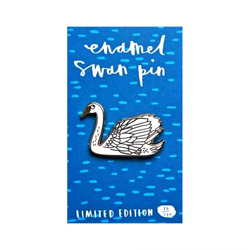swan, bird, enamel pin, shiny, illustration, charlotte farmer