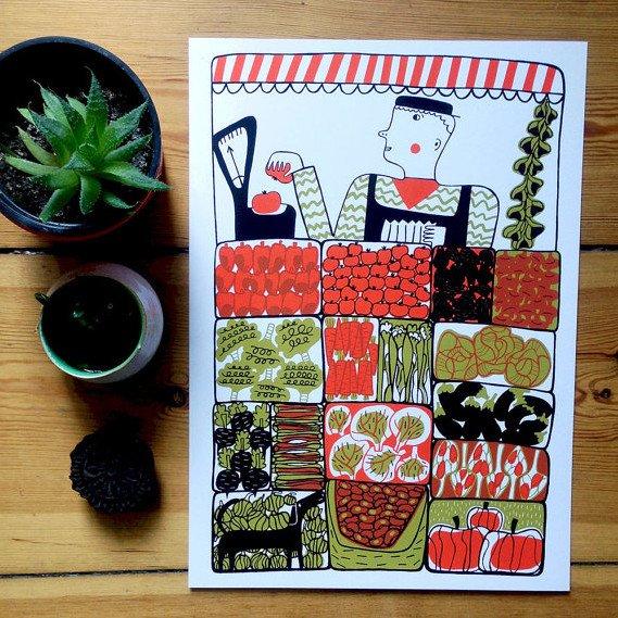mina braun, screen print, vegetable stall, illustration, colourful