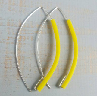 zesty yellow long rubber earrings by and lolita at the red door gallery
